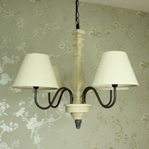 Large Cream Linen 4 Arm Chandelier
