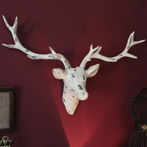 Large Cream Wall Mounted Stags Head