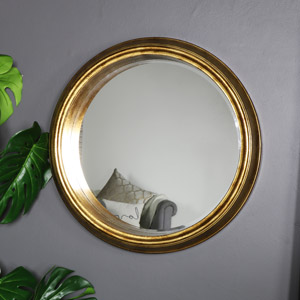 Large Deep Antique Gold Rustic Wall Mounted Mirror