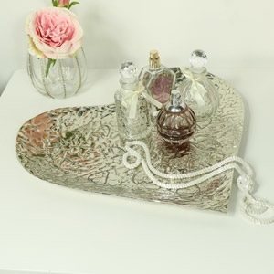 Large Embossed Silver Heart Shape Bowl