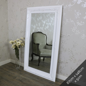 Large Gloss White Bevelled Wall Mirror