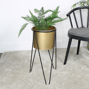 Large Gold & Black Planter