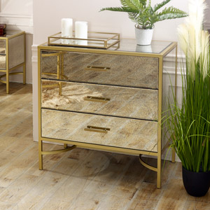 Large Gold Framed Antique Mirrored Chest of Drawers  - Cleopatra Range