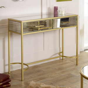 Gold Mirrored Console Hall Table - Cleopatra Range DAMAGED SECOND 2910