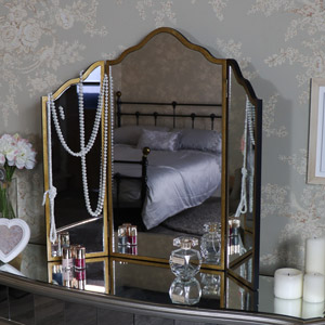 Large Gold Framed Triple Mirror