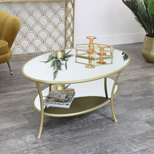 Large Gold Oval Mirrored Coffee Table