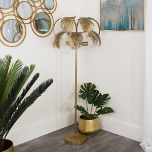 Large Gold Palm Tree Floor Lamp