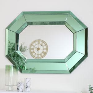 Large Green Octagonal Wall Mirror 80cm x 105cm