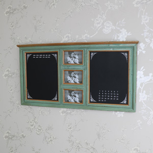 Large Green Wall Mounted Notice Board with Photograph Frames
