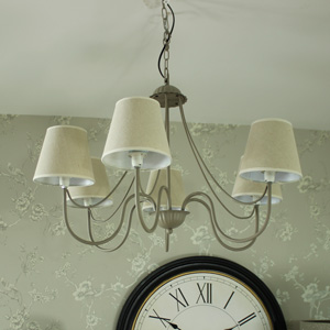 Large Grey 6 Arm Pendant Ceiling Light