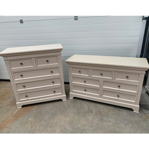 Large Grey 7 Drawer Chest of Drawers and 5 Drawer Chest  - Daventry Taupe-Grey Range DAMAGED SECOND 2001