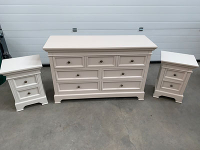 Large Grey 7 Drawer Chest of Drawers and Pair of Bedside Chests  - Daventry Taupe-Grey Range DAMAGED SECOND 2000