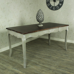 Large Grey Dining Table with Dark Wood Top - French Grey Range