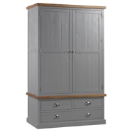Large Grey Double Wardrobe - Wesminster Range