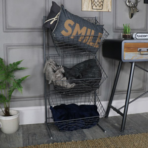 Large Grey Metal 3 Tier Storage Basket Unit