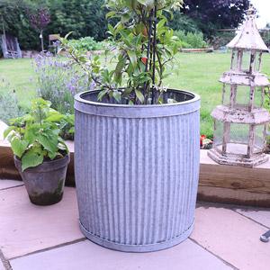 Large Grey Metal Tub Planter