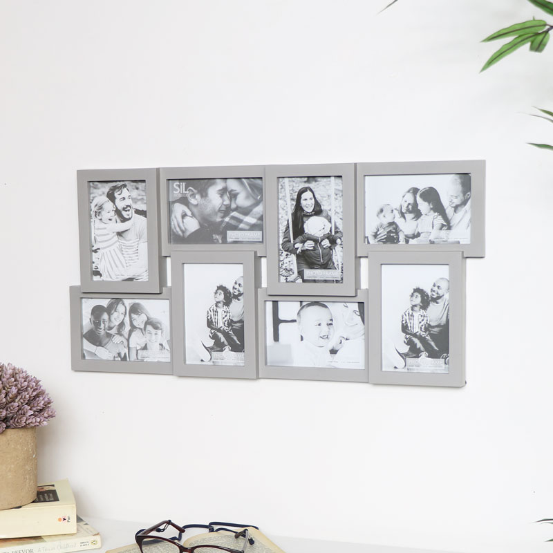 Large Grey Multi Photo Frame