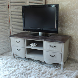 Large Grey TV Cabinet with Drawers - French Grey Range
