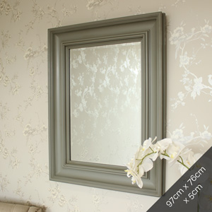Large Grey Wall Mounted Mirror 76cm x 97cm