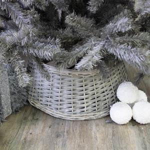 Large Grey Wicker Tree Skirt