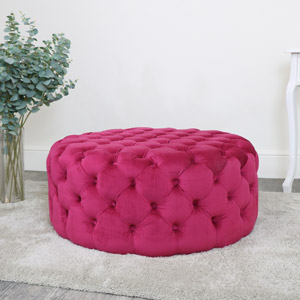 Large Hot Pink Velvet Buttoned Pouffe Stool