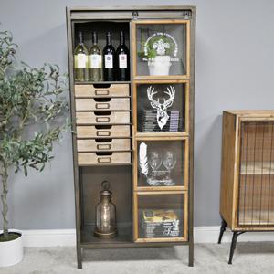 Large Industrial Metal & Wood Storage Cabinet