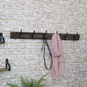 Large Metal Coat Hooks with Wooden Base
