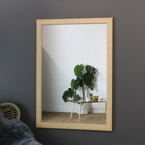 Large Natural Wood Framed Wall Mirror