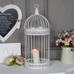 Large Ornate Antique White Birdcage Lantern Candle Holder