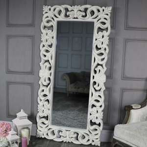 Large Ornate Antique White Wall Mounted Mirror 90cm x 175cm