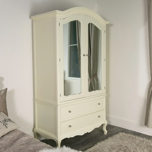 Large Ornate Cream Double Wardrobe Armoire - Elise Cream Range