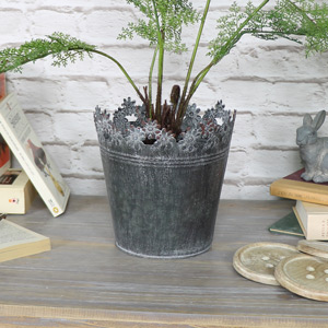 Large Ornate Grey Metal Planter