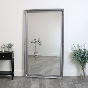 Large Ornate Silver Wall / Leaner Mirror 188cm x 108cm
