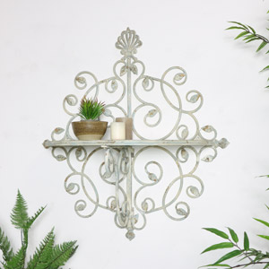 Large Ornate Vintage Cream Shelf