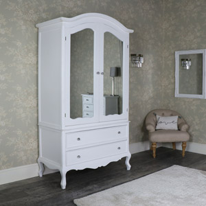 Large Ornate White Double Wardrobe Armoire - Elise White Range