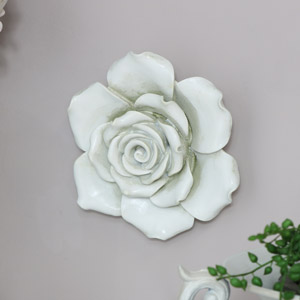 Large Ornate White Rose Wall Art