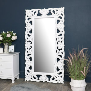 Large Ornate White Wall / Floor Mirror 92cm x 168cm