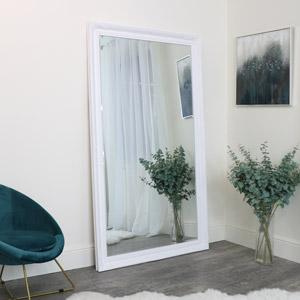 Large Ornate White Wall/ Leaner Mirror 188cm x 108cm