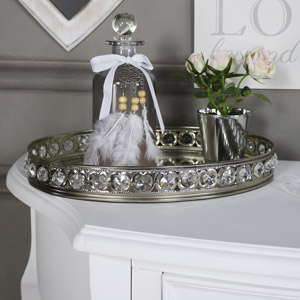 Large Oval Mirrored Jewel Display Tray