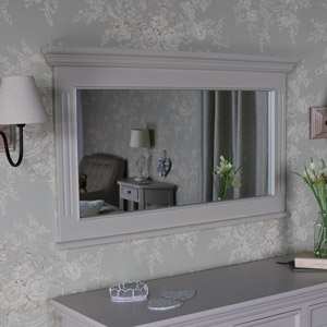 Large Grey Overmantle Wall Mirror – Daventry Taupe-Grey Range 105cm x 62cm