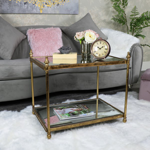 Large Gold Mirrored Coffee Side Table