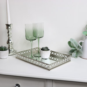 Large Rectangle Mirrored Jewel Display Tray