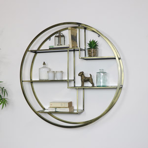 Large Round Antique Brass Mirrored Multi Shelf Unit