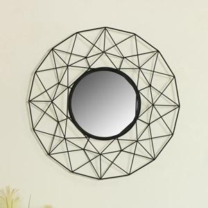 Large Round Black Metal Wire Wall Mirror 63cm x 63cm