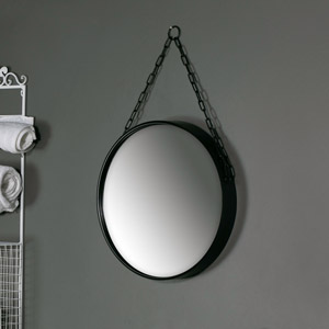 Large Round Black Mirror with Chain Hanger