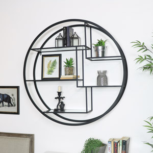 Large Round Black Mirrored Multi Shelf Unit