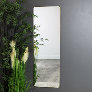 Tall Brushed Gold Wall / Floor / Leaner Mirror 47cm x 142cm