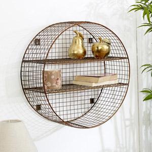 Large Round Copper Wire Shelf