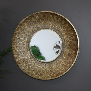 Large Round Gold Moroccan Style Wall Mirror 80cm x 80cm