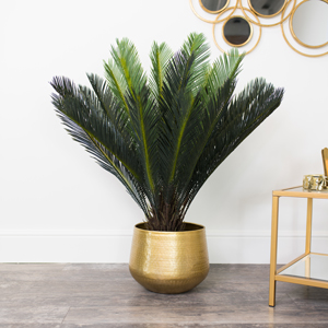 Large Round Gold Patterned Planter
